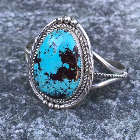 Vintage Jewelry - Signed Navajo Turquoise & Sterling Cuff Bracelet